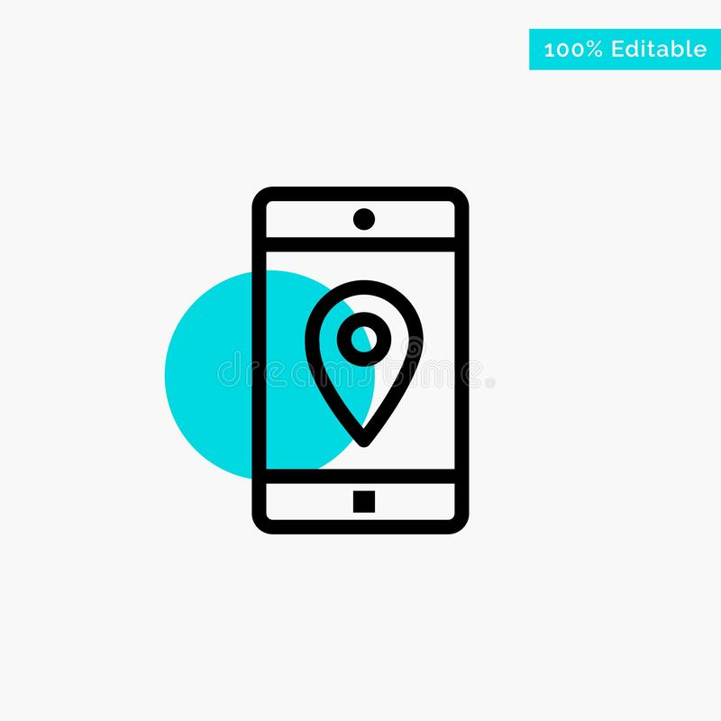 Uso, móvil, aplicación móvil, ubicación, icono del vector del punto del círculo del punto culminante de la turquesa del mapa ilustración del vector