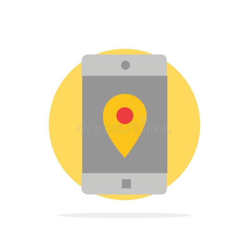 Uso, móvil, aplicación móvil, ubicación, icono plano del color de fondo del círculo del extracto del mapa stock de ilustración