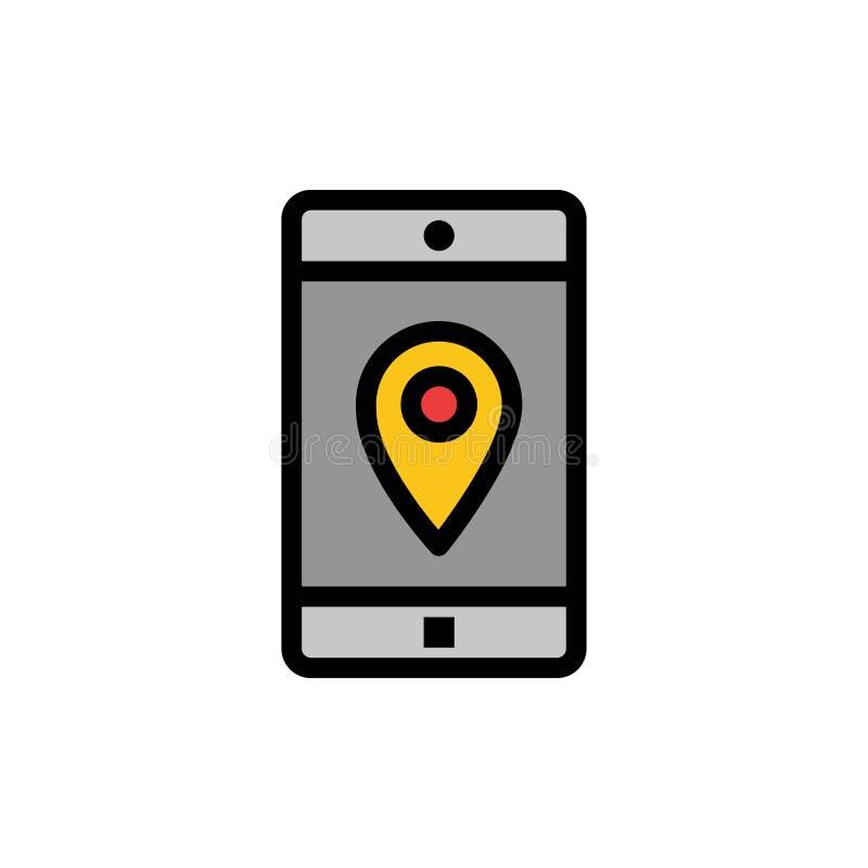 Uso, móvil, aplicación móvil, ubicación, icono plano del color del mapa Plantilla de la bandera del icono del vector ilustración del vector