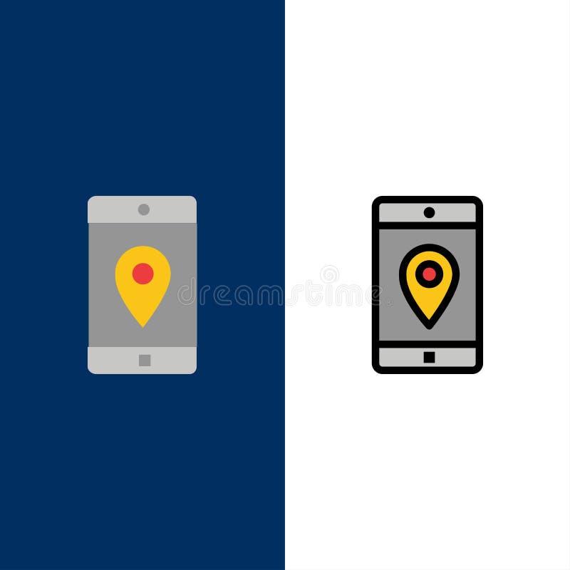 Uso, móvil, aplicación móvil, ubicación, iconos del mapa El plano y la línea icono llenado fijaron el fondo azul del vector stock de ilustración