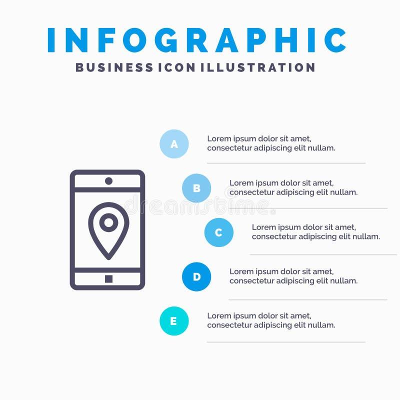 Uso, móvil, aplicación móvil, ubicación, línea icono del mapa con el fondo del infographics de la presentación de 5 pasos stock de ilustración