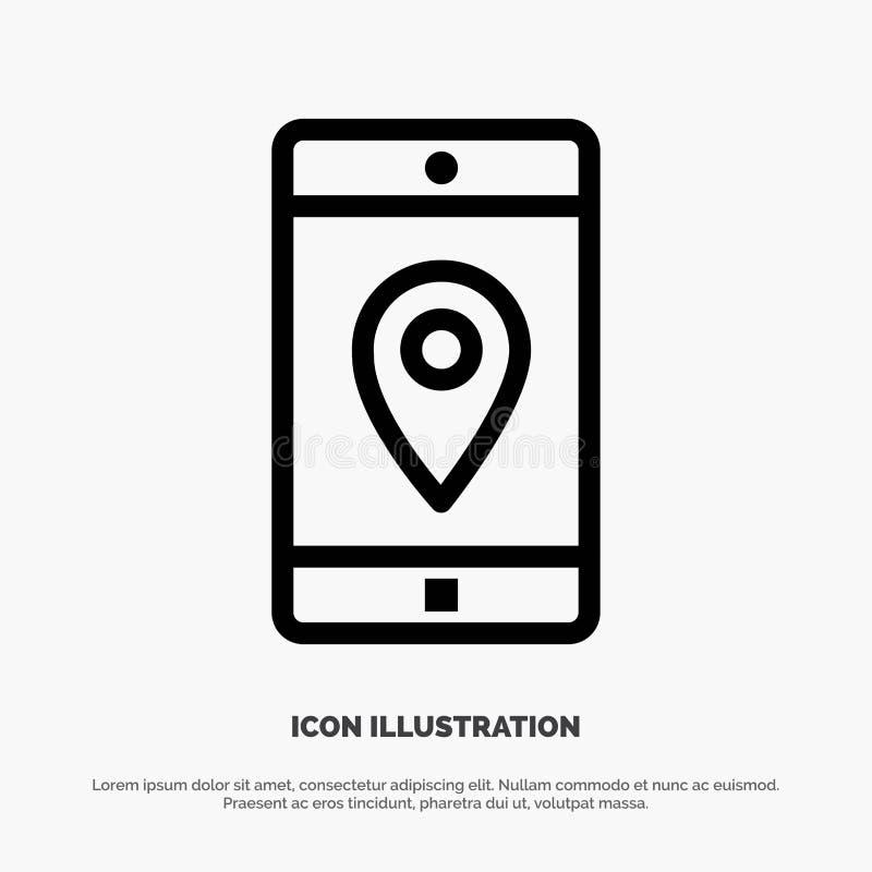 Uso, móvil, aplicación móvil, ubicación, línea vector del mapa del icono stock de ilustración