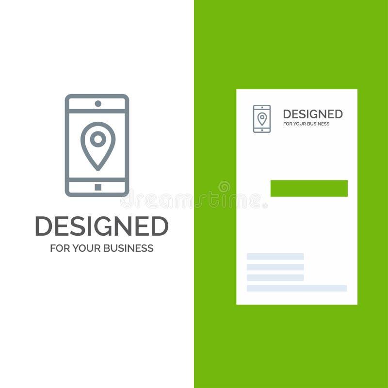 Uso, móvil, aplicación móvil, ubicación, mapa Grey Logo Design y plantilla de la tarjeta de visita stock de ilustración