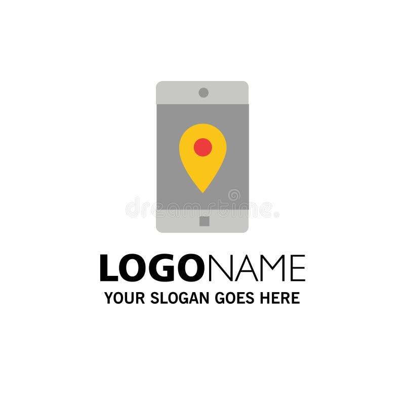 Uso, móvil, aplicación móvil, ubicación, negocio Logo Template del mapa color plano libre illustration