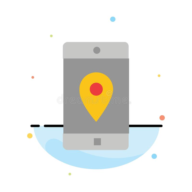 Uso, móvil, aplicación móvil, ubicación, plantilla plana del icono del color del extracto del mapa stock de ilustración
