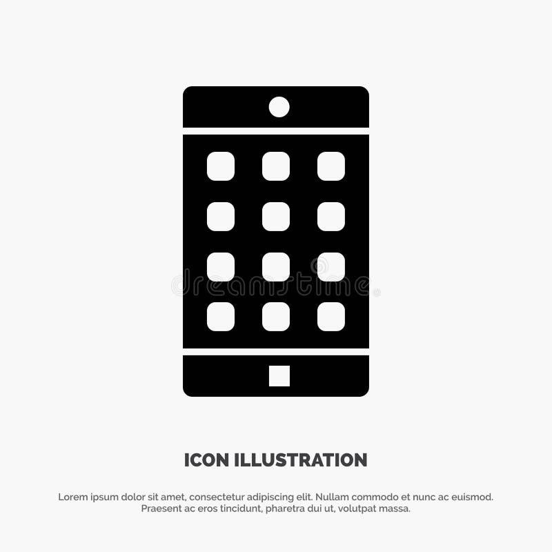 Uso, móvil, aplicación móvil, vector sólido del icono del Glyph de la contraseña ilustración del vector
