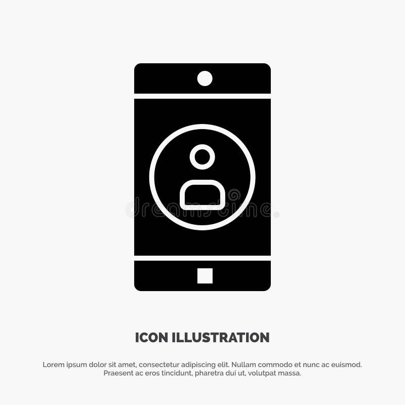 Uso, móvil, aplicación móvil, vector sólido del icono del Glyph del perfil stock de ilustración