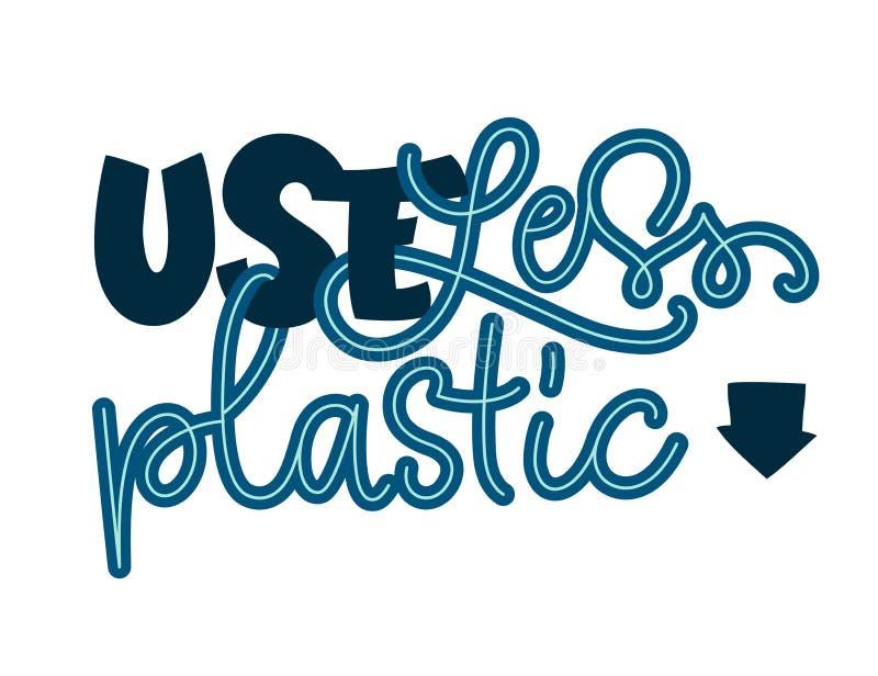 Uso meno testo di plastica - frase dell'iscrizione di tiraggio della mano di colore di Eco illustrazione vettoriale
