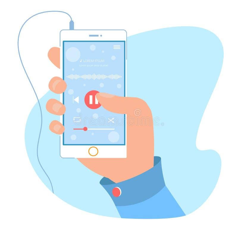 Uso moderno del reproductor de audio para el teléfono móvil libre illustration