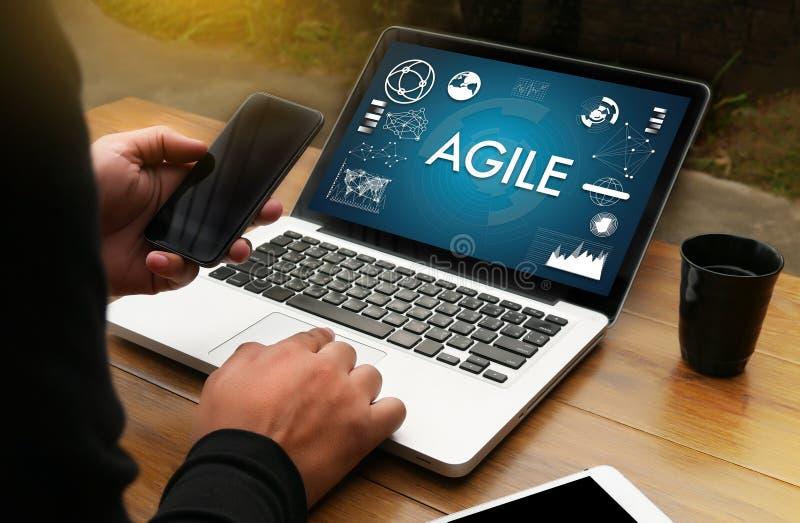 Uso rápido rápido ágil del funcionamiento del hombre de negocios del concepto de la agilidad ágil fotos de archivo