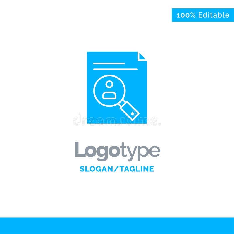 Uso, tablero, plan de estudios, Cv, curriculum vitae, personal Logo Template sólido azul Lugar para el Tagline stock de ilustración