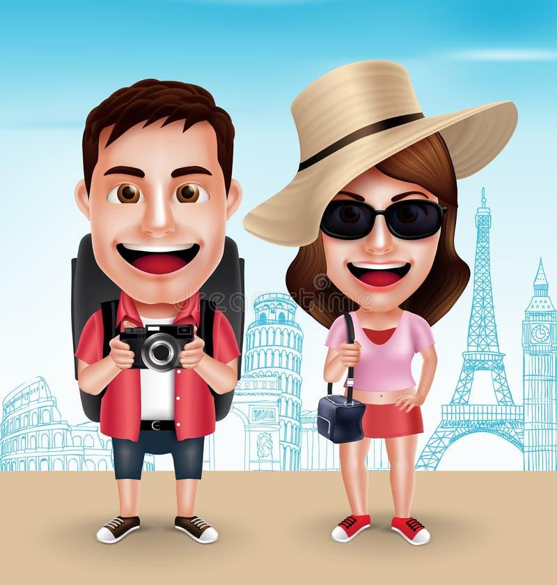 Uso turistico dei caratteri di vettore delle coppie del viaggiatore casuale con le borse di viaggio illustrazione di stock