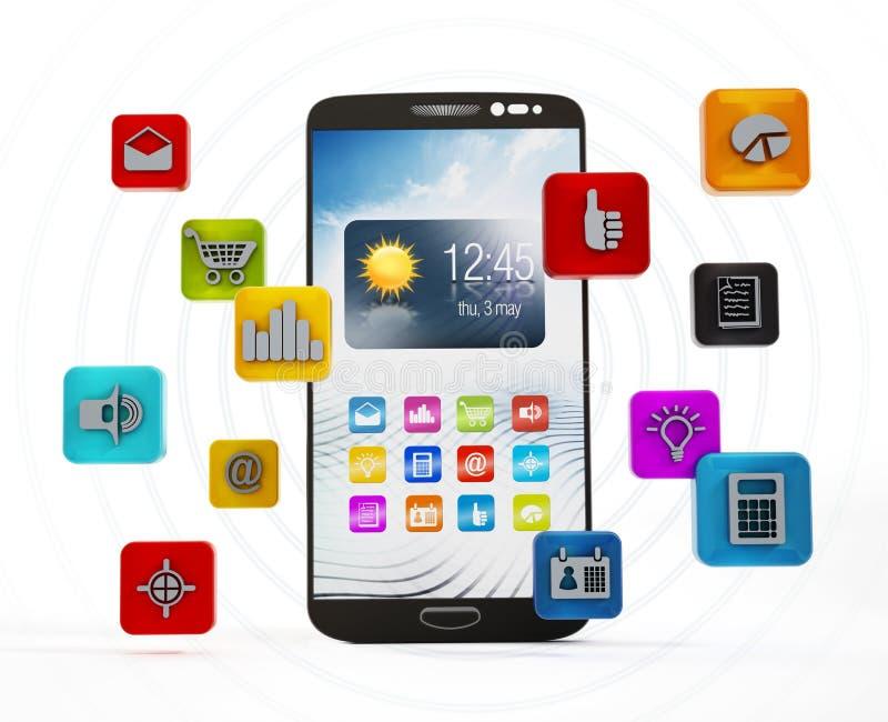 Usos de Smartphone ilustración del vector