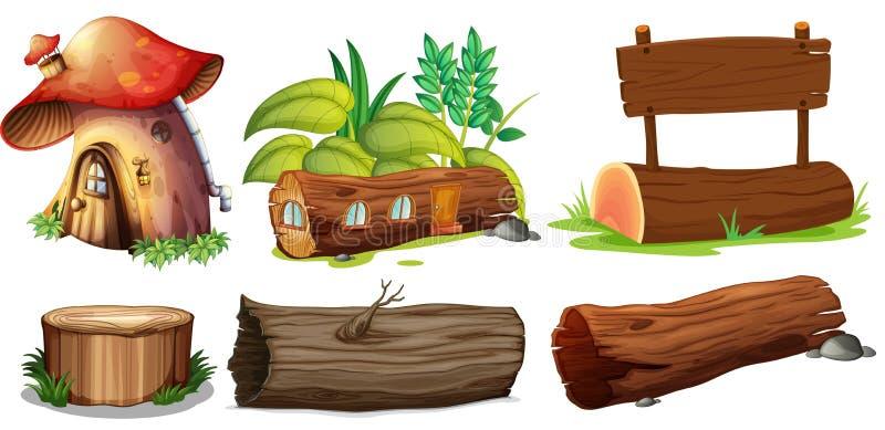 Usos diferentes das madeiras ilustração do vetor
