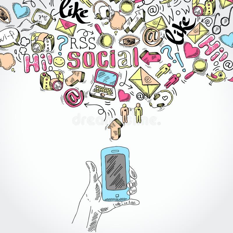 Usos sociales del smartphone móvil medios stock de ilustración