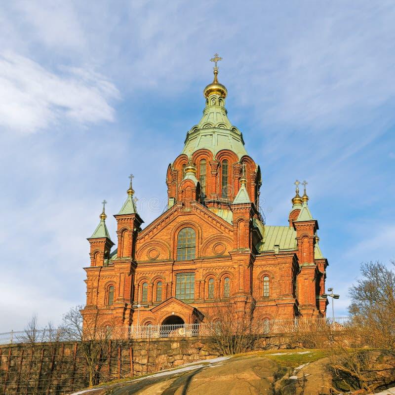 Uspenski östlig ortodox domkyrka i Helsingfors finland arkivfoto