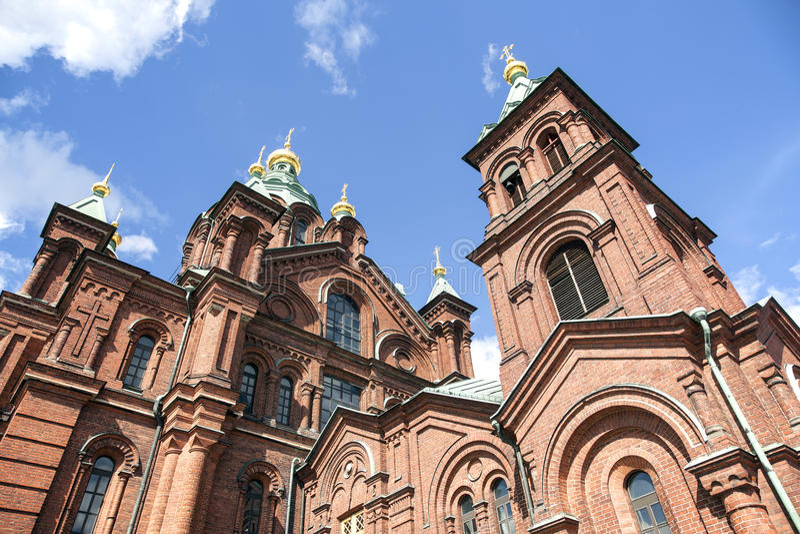 Uspenski cathedral and blue sky in helsinki royalty free stock photo