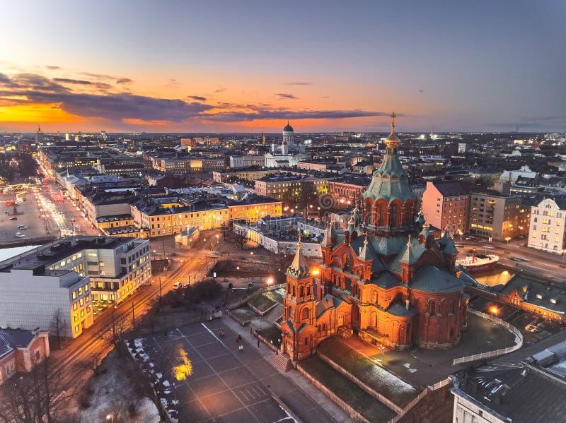 Uspenski Cathedral, Presidential Palace and evening Helsinki royalty free stock image