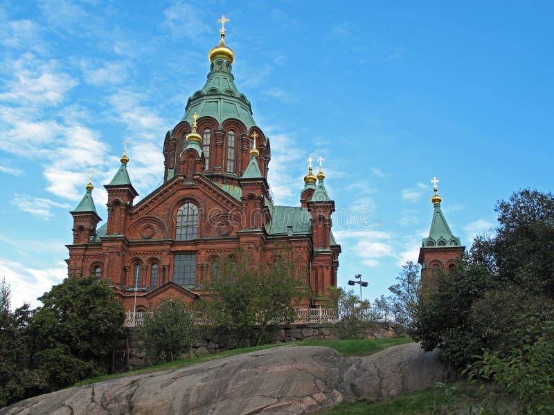 Uspenski domkyrka på kullen, ortodox kyrka för röd turkos, Helsingfors, Finland fotografering för bildbyråer
