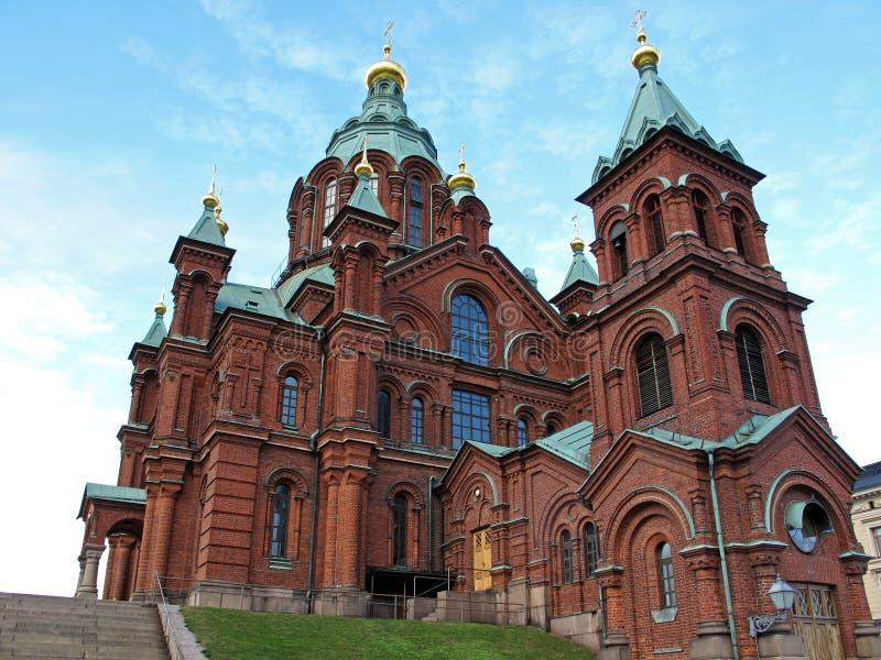 Uspenski domkyrka på kullen, ortodox kyrka för röd turkos, Helsingfors, Finland arkivfoton