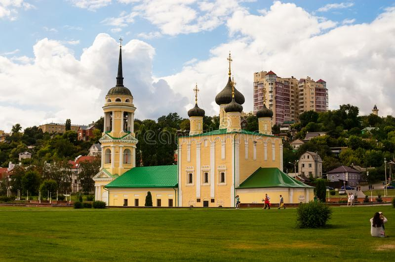 Uspenskiy Cathedral on the Admiralty Square in the city landscape of Voronezh stock photos