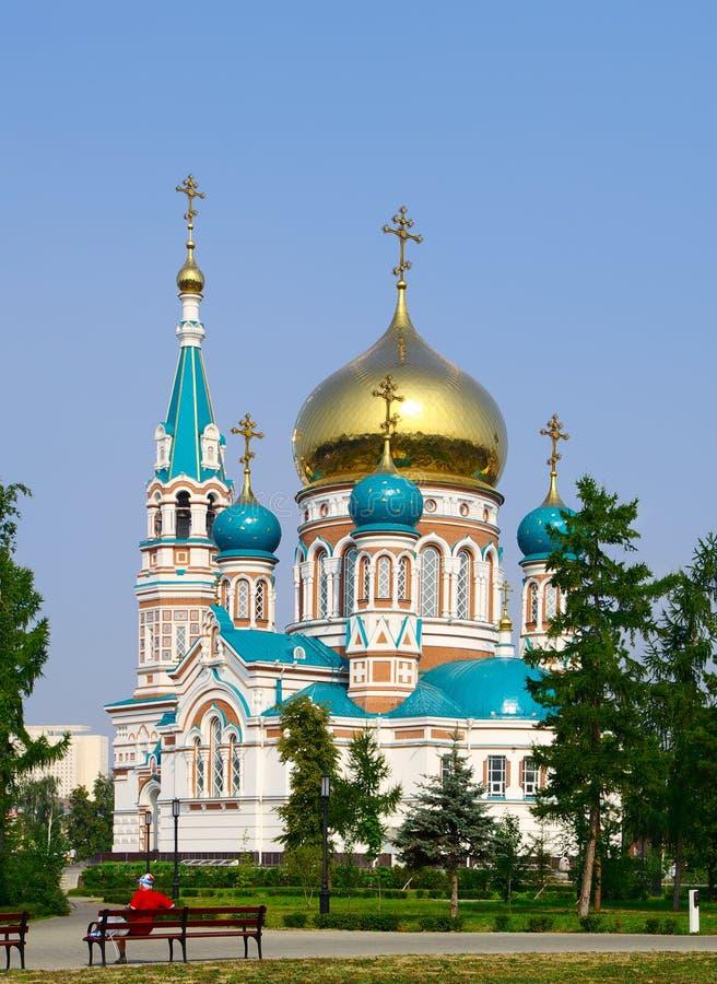 Uspenskiy Cathedral.Omsk.Russia imagem de stock