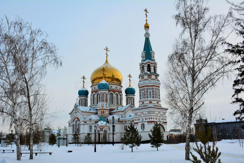 Uspensky大教堂在冬天,鄂木斯克,俄罗斯 库存图片