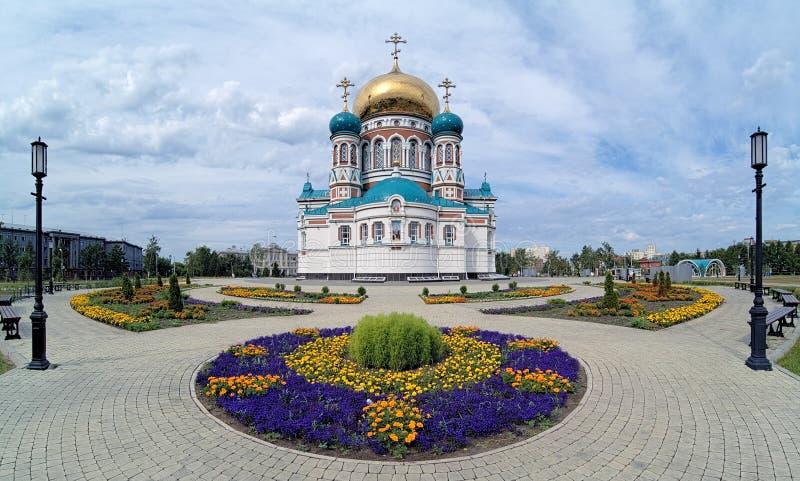 Uspensky大教堂在鄂木斯克,俄国 库存照片