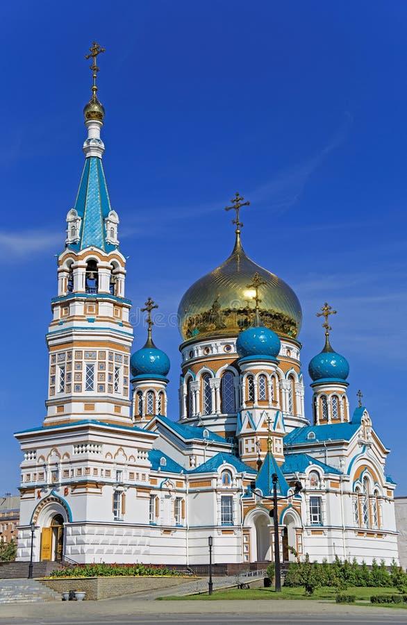 Uspensky正统大教堂在鄂木斯克城市 图库摄影