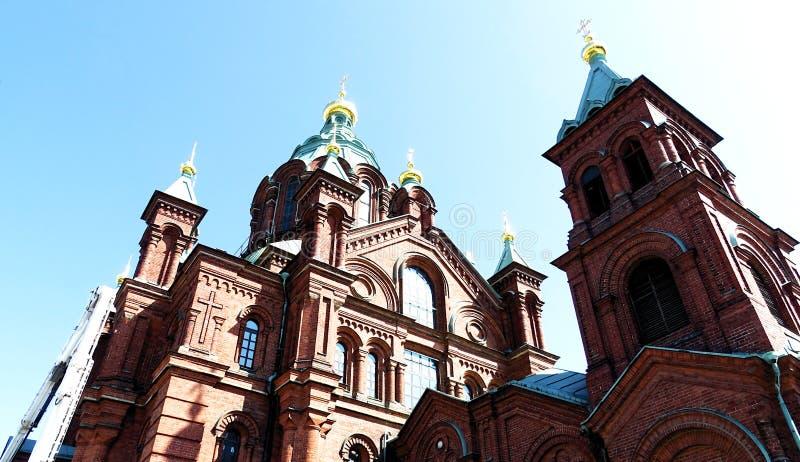 Uspensky Cathedral at Helsinki`s harbor, Helsinki, Finland stock photo