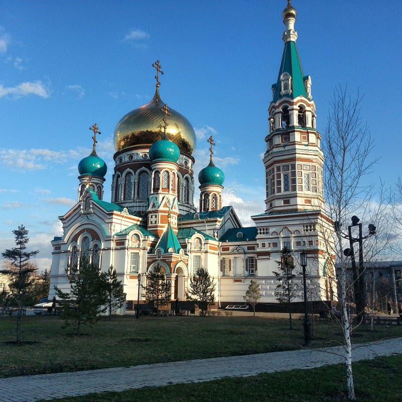 Uspensky domkyrka (historisk byggnad), Omsk, Ryssland arkivbilder