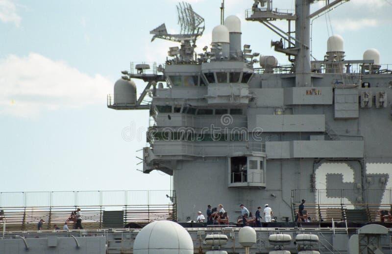 USS约翰F的驾驶舱的2000个看法 肯尼迪 库存图片