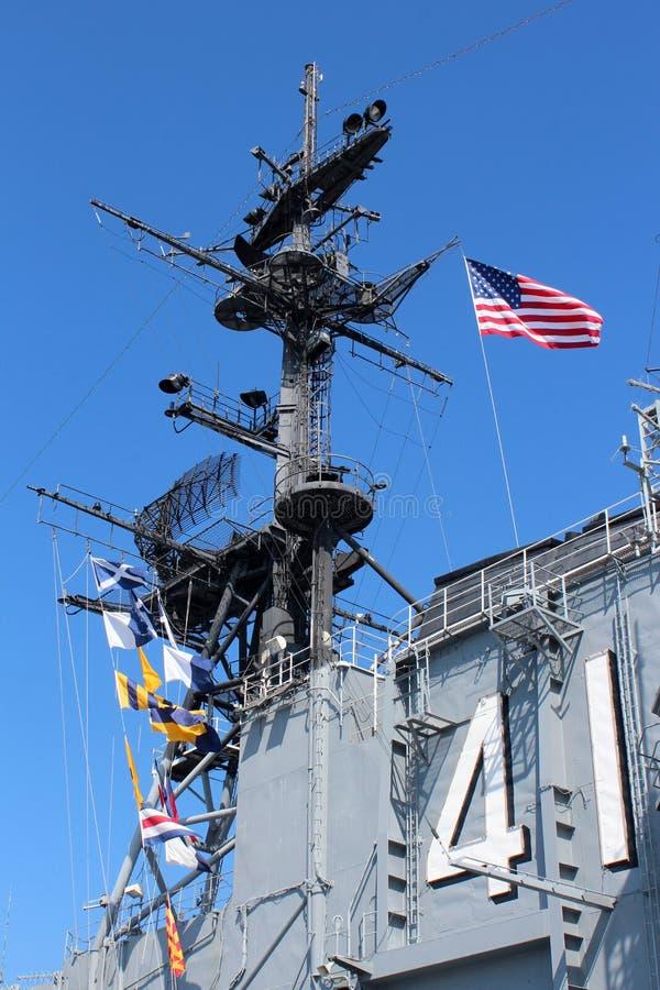 USS ευρισκόμενο στη μέση του δρόμου, Σαν Ντιέγκο στοκ εικόνα