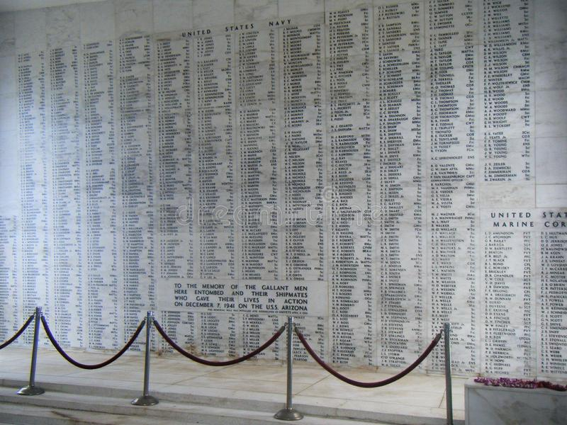 USS Arizona BB 39 Memorial Wall, Pearl Harbor Hawaii stock images