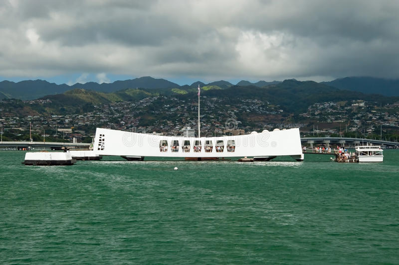 USS Arizona Memorial in Pearl Harbor in Honolulu Hawaii. View of the USS Arizona Memorial in Pearl Harbor in Honolulu Hawaii royalty free stock photo