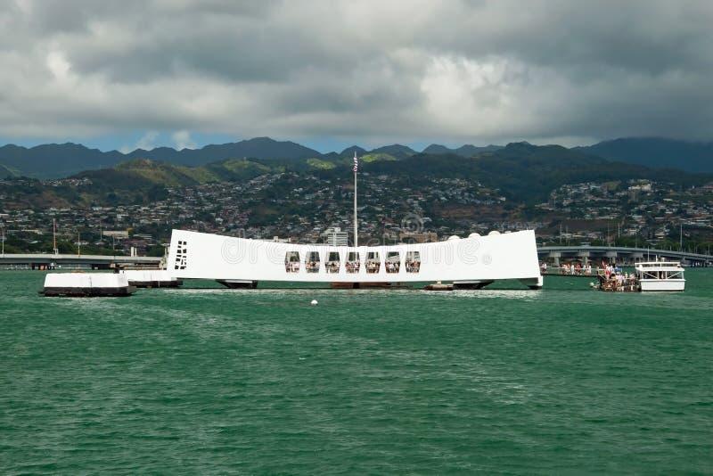 USS Arizona pomnik w pearl harbour w Honolulu Hawaje zdjęcie royalty free