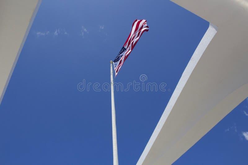 USS Arizona pomnika flaga amerykańska obraz royalty free
