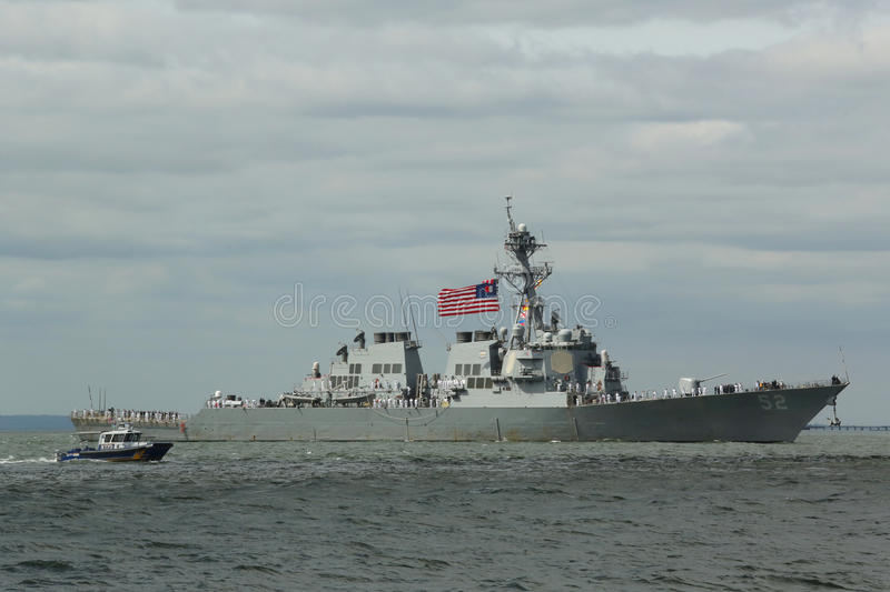 USS Barry guided missile destroyer of the United States Navy during parade of ships at Fleet Week 2015. NEW YORK - MAY 20, 2015: USS Barry guided missile stock photography