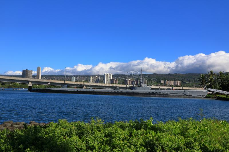 USS Bowfin Submarine at Pearl Harbor historic sites. ,hawaii royalty free stock photography