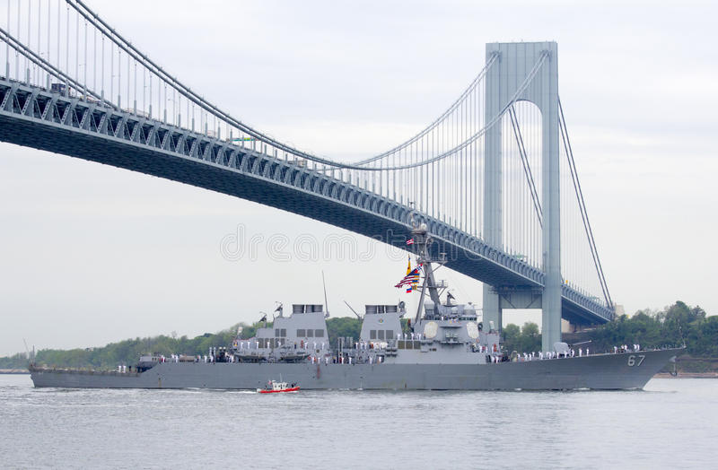 USS Cole guided missile destroyer of the United St. NEW YORK - MAY 21 USS Cole guided missile destroyer of the United States Navy during parade of ships at Fleet royalty free stock image
