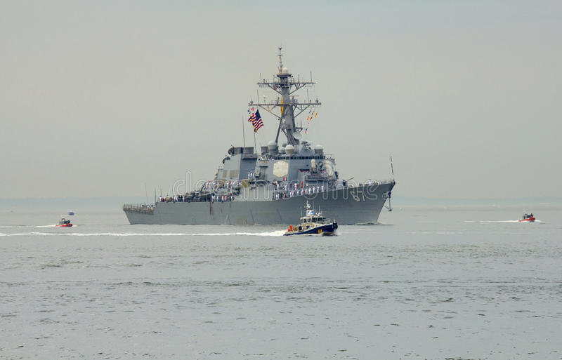 USS Cole guided missile destroyer of the United States Navy during parade of ships at Fleet Week 2014. NEW YORK - MAY 21 USS Cole guided missile destroyer of the stock photo