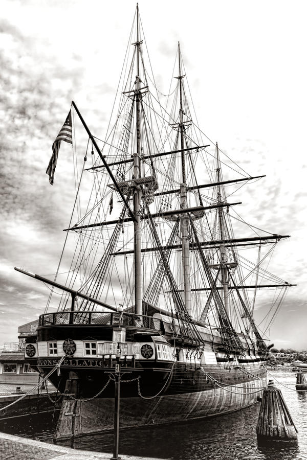 USS Constellation Historic Old Frigate Navy Ship stock photos