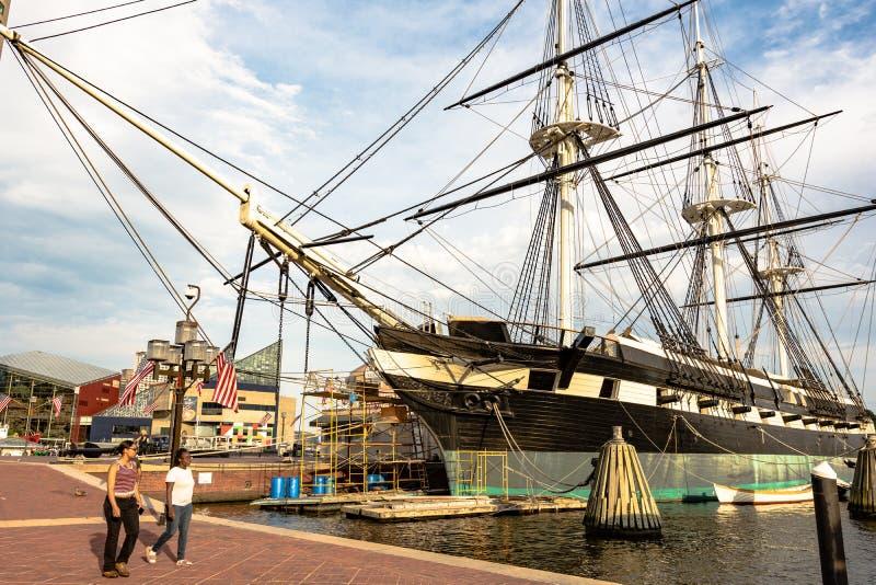 USS Constellation s'est accouplé à Baltimore photo stock