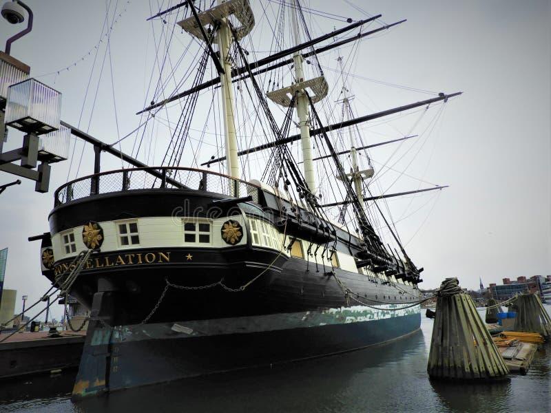 USS gwiazdozbioru statek w Baltimore schronieniu obraz stock