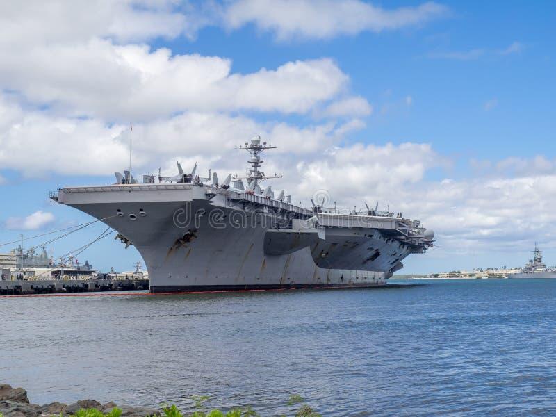 USS John C Stennis il 5 agosto 2016 in Pearl Harbor fotografia stock libera da diritti