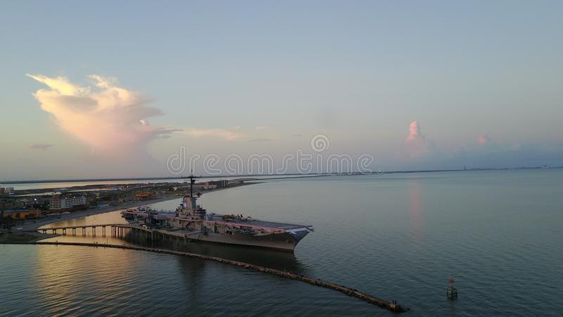 USS Lexington, Корпус Кристи, изображение трутня TX стоковые фото