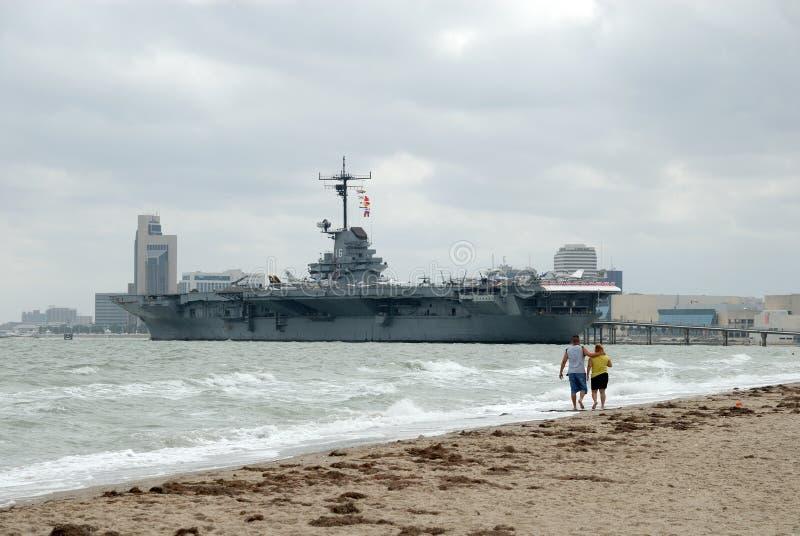 USS Lexington, Corpus Christi, TX royalty free stock photo