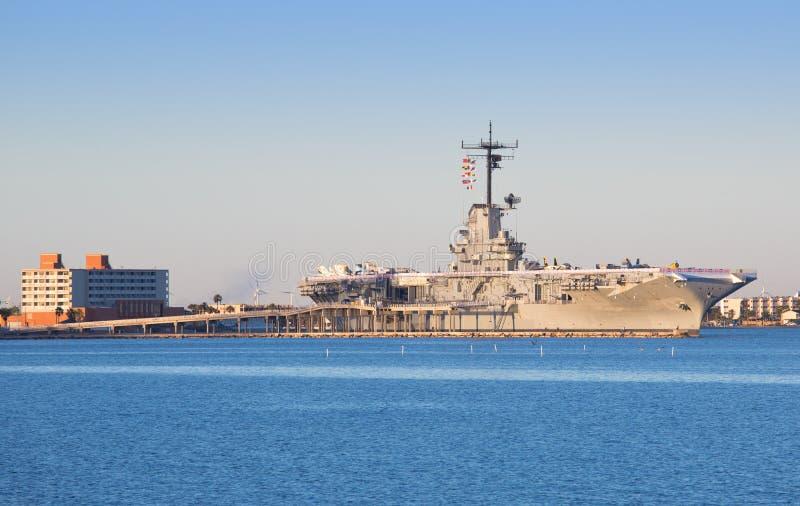 USS Lexington em Corpus Christi fotos de stock royalty free