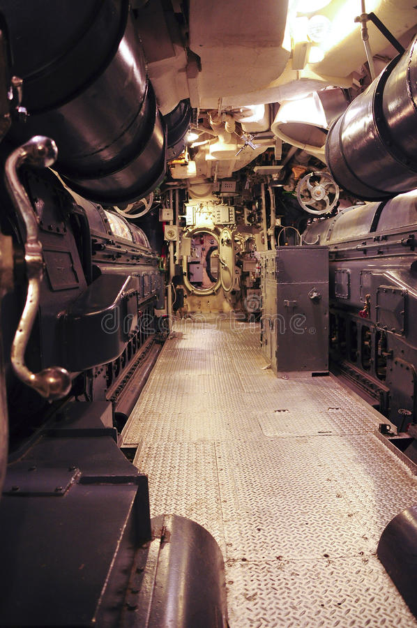USS Lionfish. Inside section of a world war 2 submarine Lionfish. A Balao-class submarine, USS Lionfish was laid down on 15 December 1942, launched on 7 November royalty free stock photo