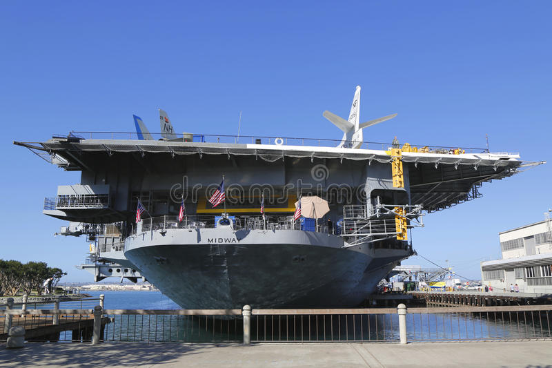 The USS Midway Museum located in downtown San Diego, California at Navy Pier. SAN DIEGO, CALIFORNIA - SEPTEMBER 29: The USS Midway Museum located in downtown San stock photo